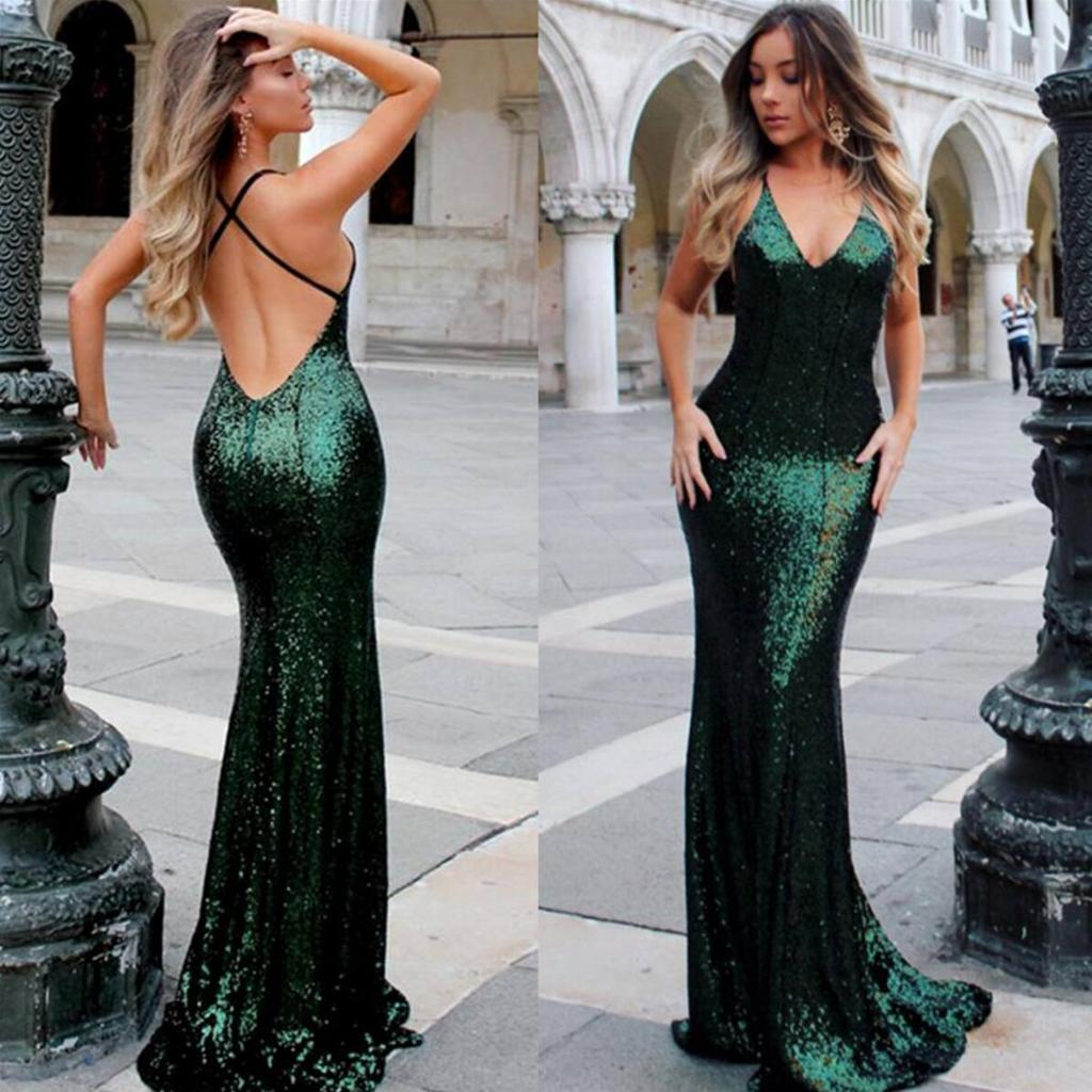 6aed2d0bda Sexy Backless Mermaid Sparkly Green Sequin Long Evening Prom Dresses ...