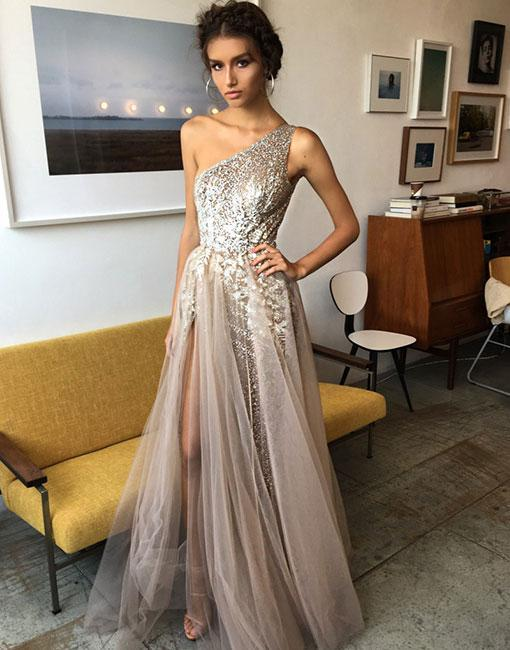1d057cd6c48 One Shoulder Sexy Side Slit Heavily Beaded Long Evening Prom ...