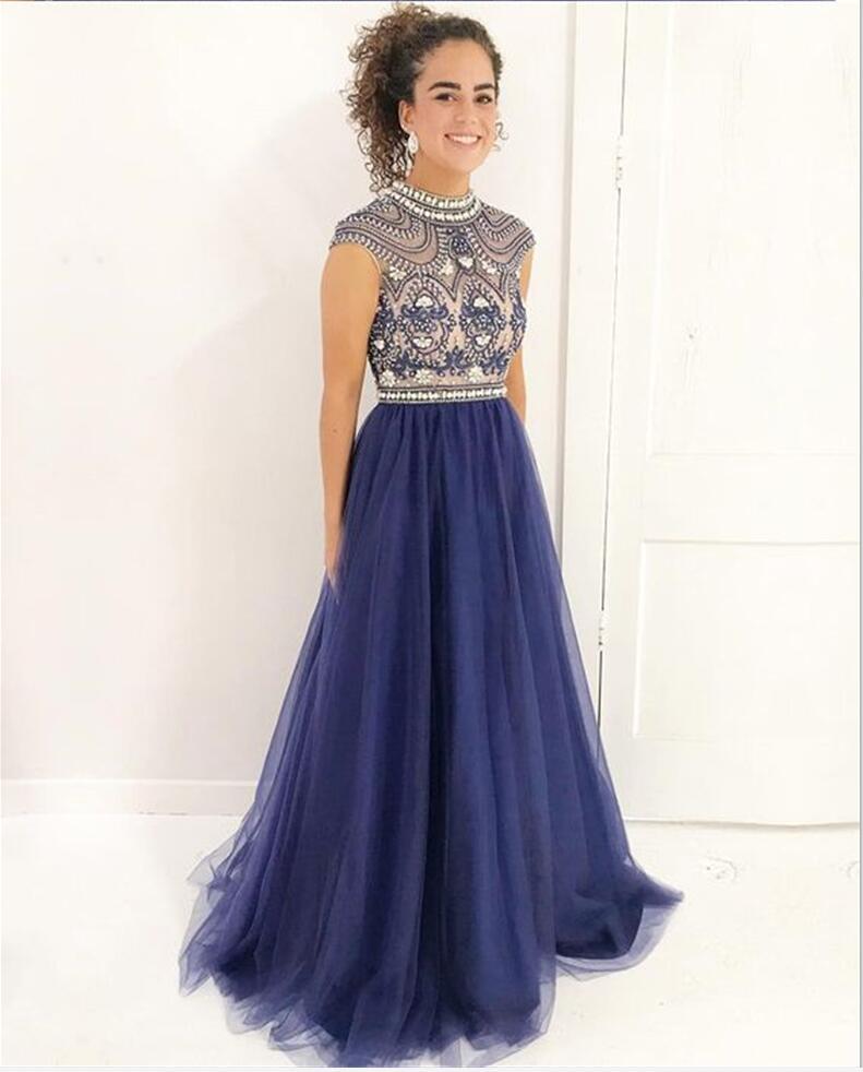 Modest High Neckline Delicately Beaded Navy Blue Long Evening Prom ...