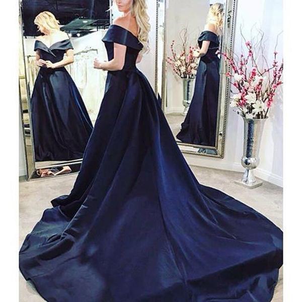 57c58acca7ab8 Elegant A Line Off Shoulder Navy Blue Satin Formal Evening Dress on Storenvy