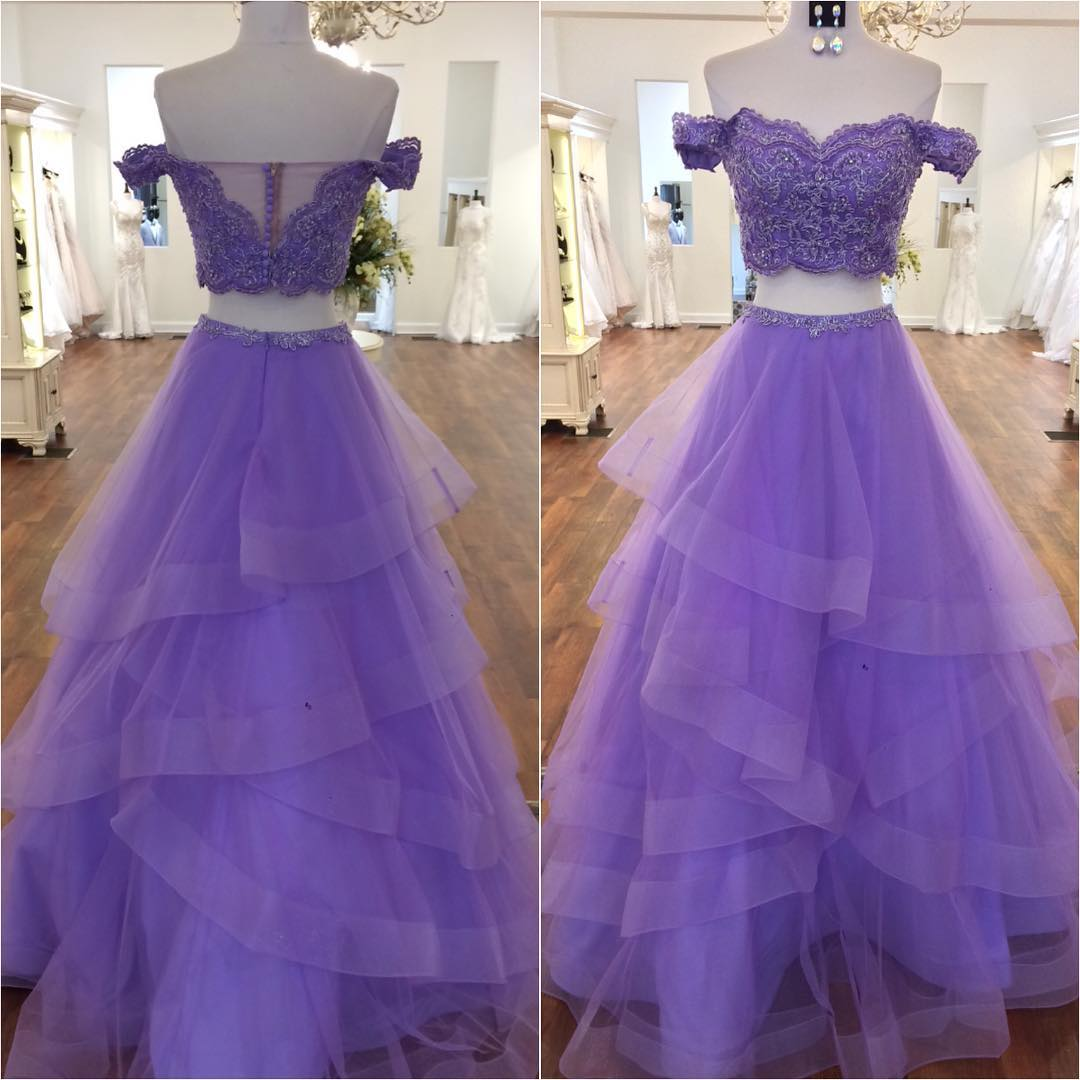 84b61944f390 ... Mint Green Two Piece Prom Dress Off The Shoulder Formal Gown Layered  Skirt - Thumbnail 4