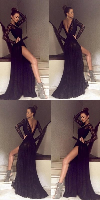 433275392c2 Black Long Sleeves Lace Side Split Sexy V Back Long Prom Dress