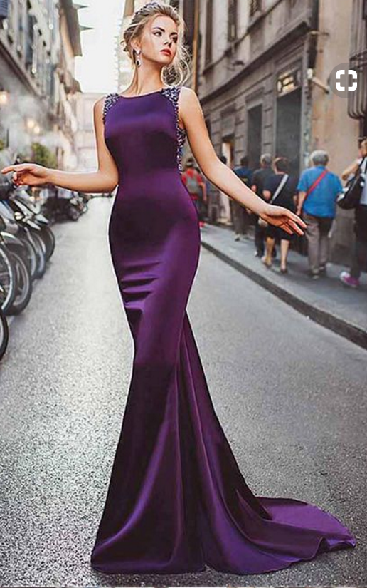 Satin Purple Mermaid Prom Dresses With Beading Long Formal