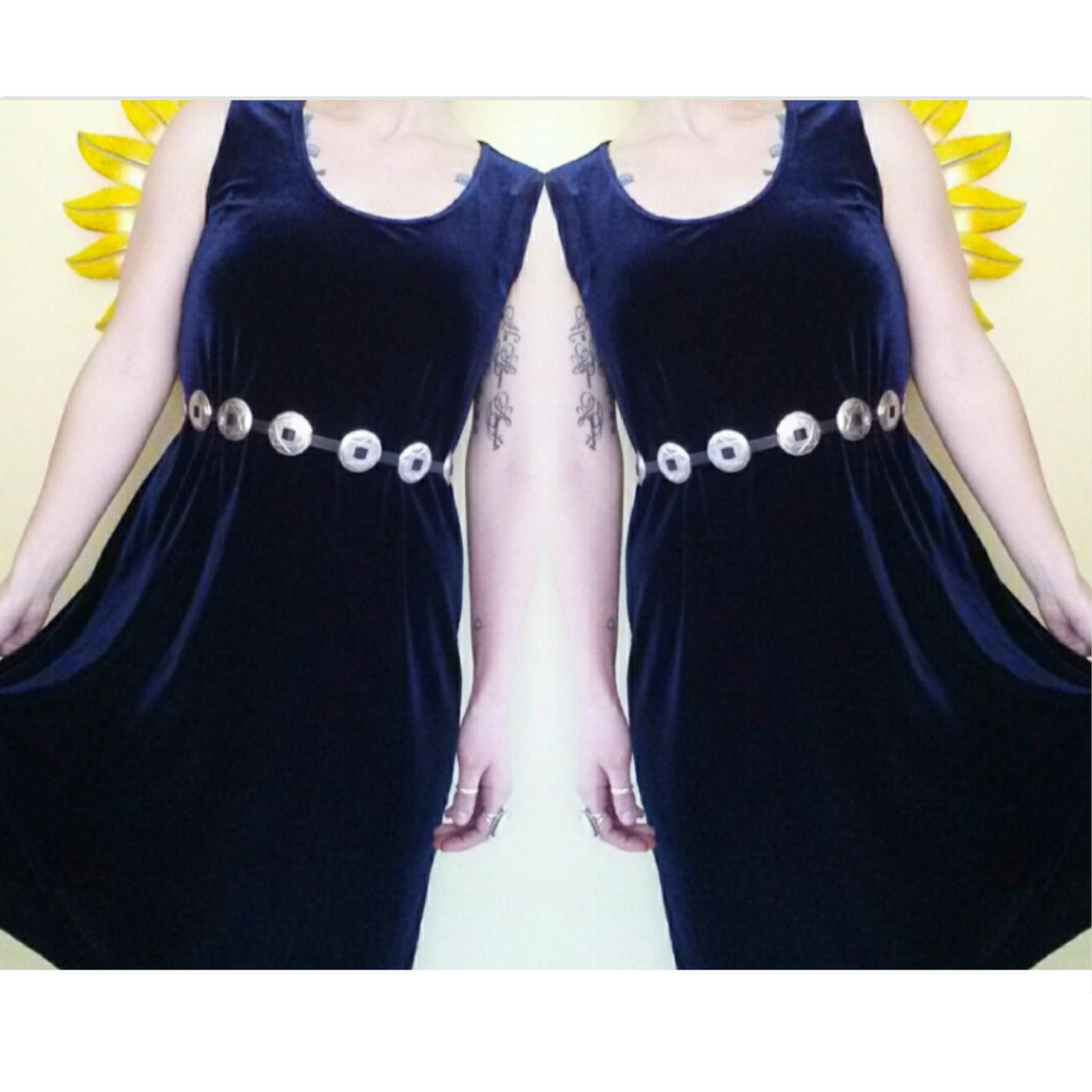 f2ae9e88ae1d 90's Blue Crushed Velvet Sleeveless Dress - Vintage GRUNGE Velvet ...