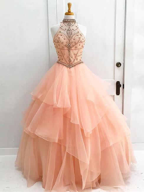 Sexy Open Back Orange Halter Delicate Beading Rhinestone Ball Gown ...