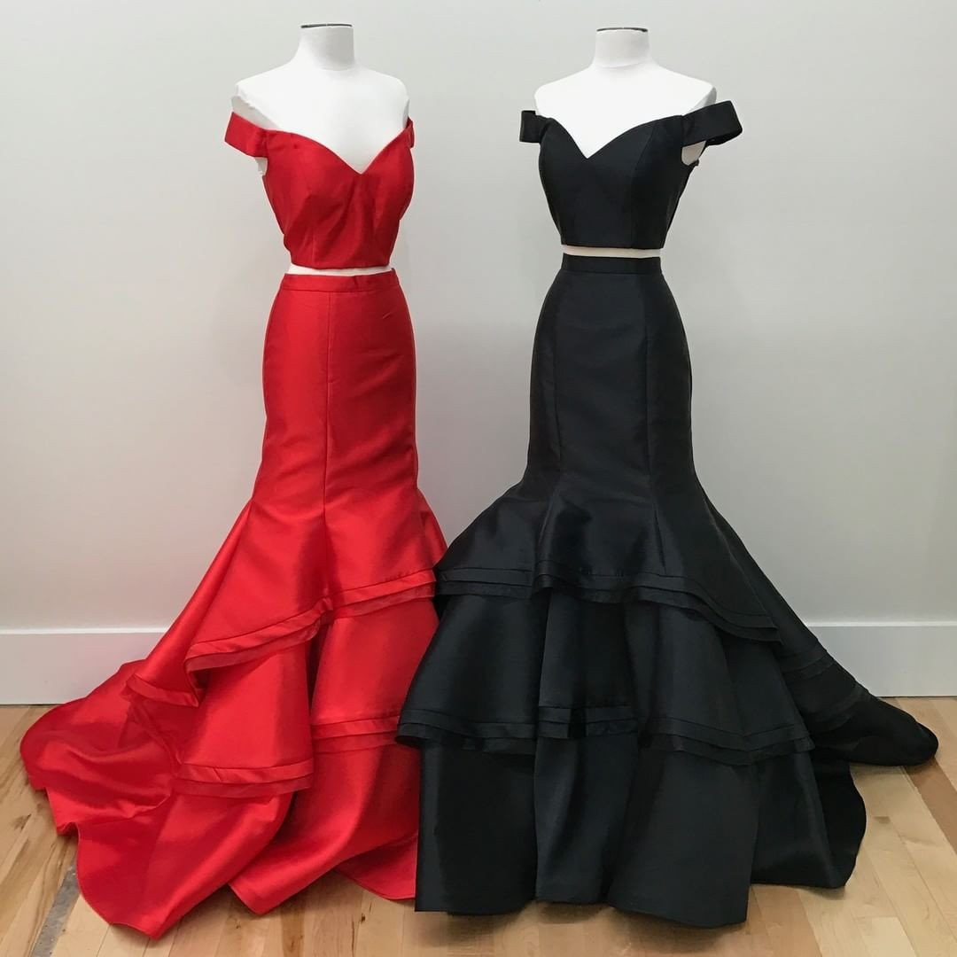 d19b2362e29 Sexy Off the Shoulder Pear Pink Red Black Mermaid Two Piece Prom Dresses on  Storenvy