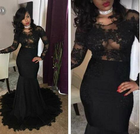 2c54ff31e201 2018 Black Girls Sheer Long Sleeves Mermaid Prom Dresses Tulle Lace ...