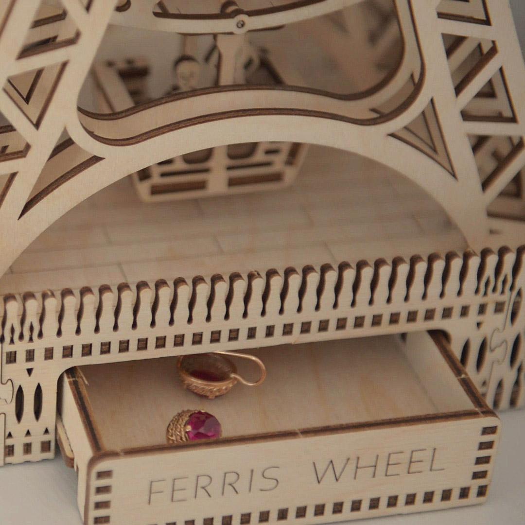FERRIS WHEEL WOODEN CITY 3D Mechanical Wooden Model 3D Puzzles