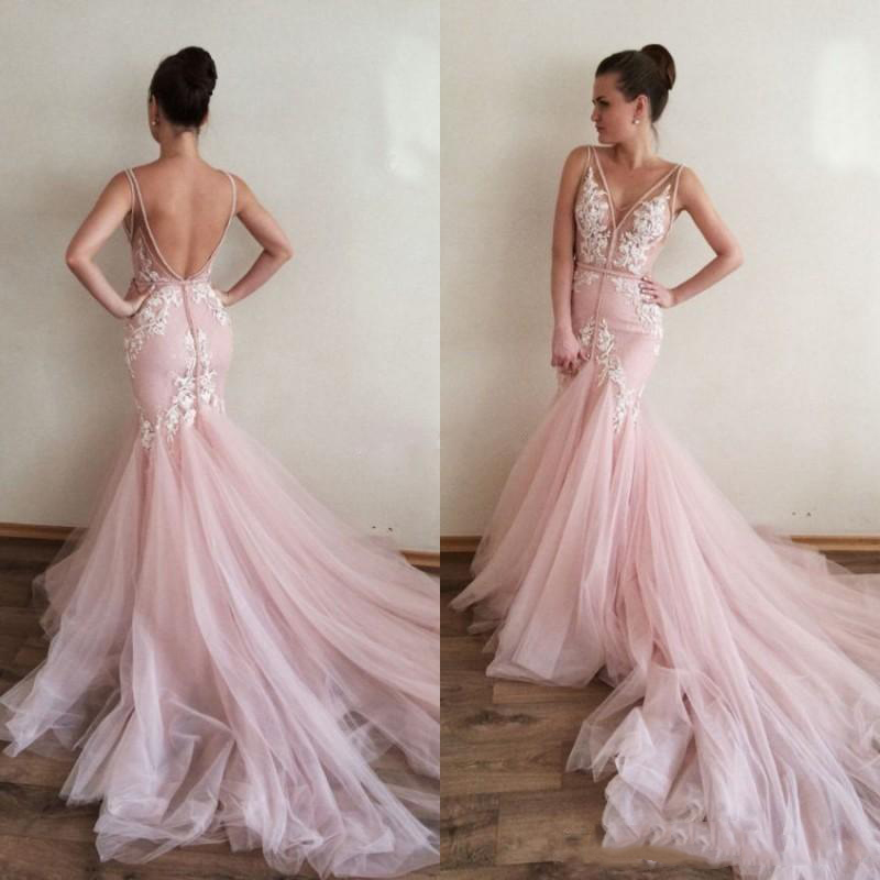 S377 Blush Pink Mermaid Wedding Dresses, Vintage Wedding