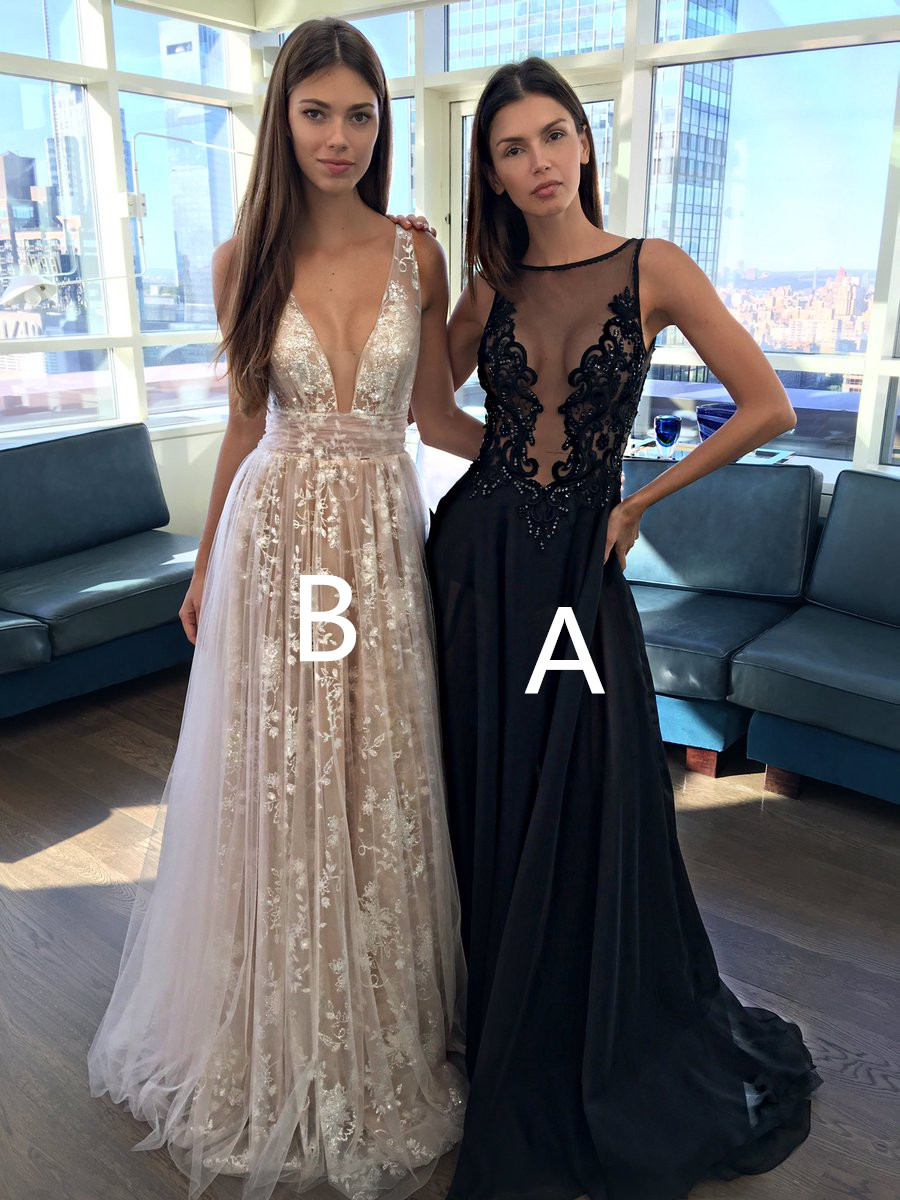 S396 Charming A-Line Deep V-Neck Long Champagne Tulle Prom Dress ...