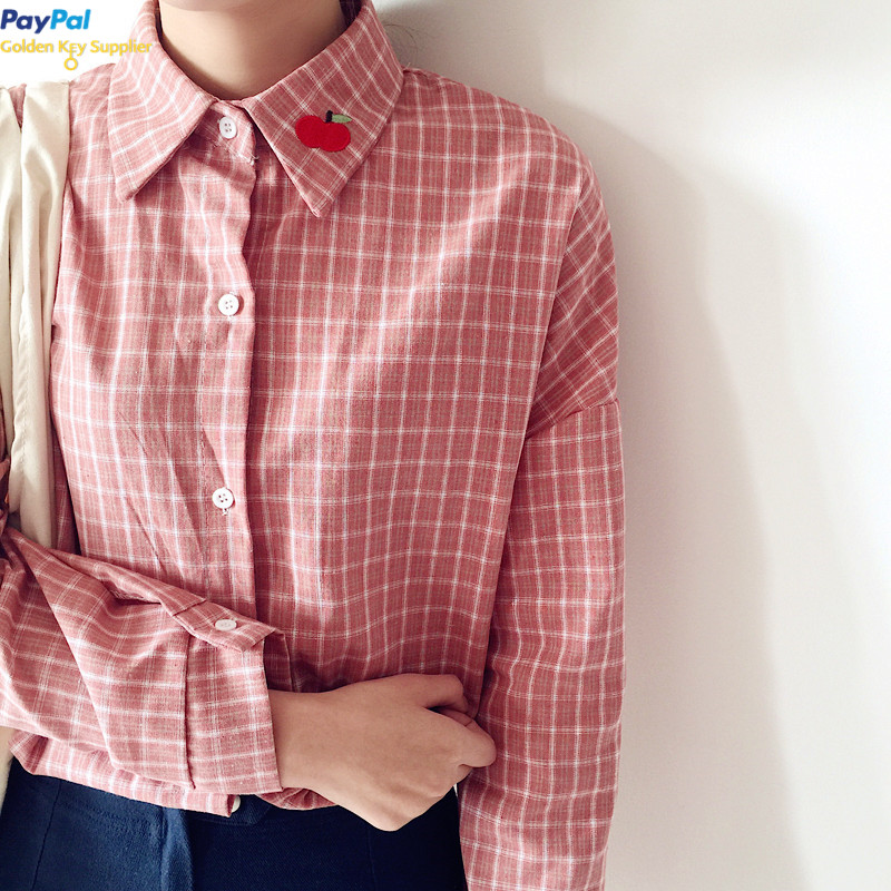 FREE SHIPPING Cherry Collar Plaid Shirt from Moooh!!