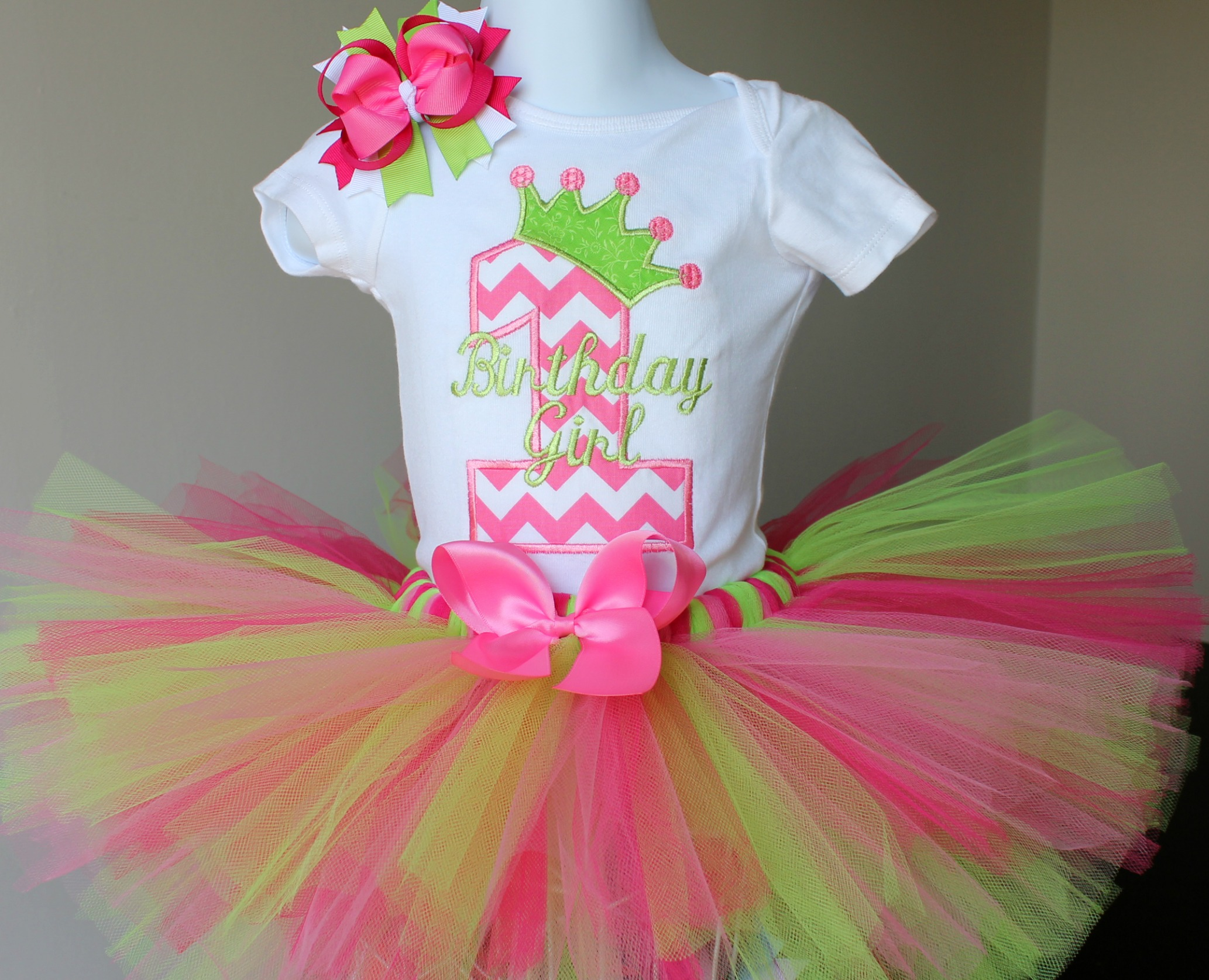 d07076d5e First Birthday Outfit Pink Green Chevron Princess Tutu and Hairbow ...