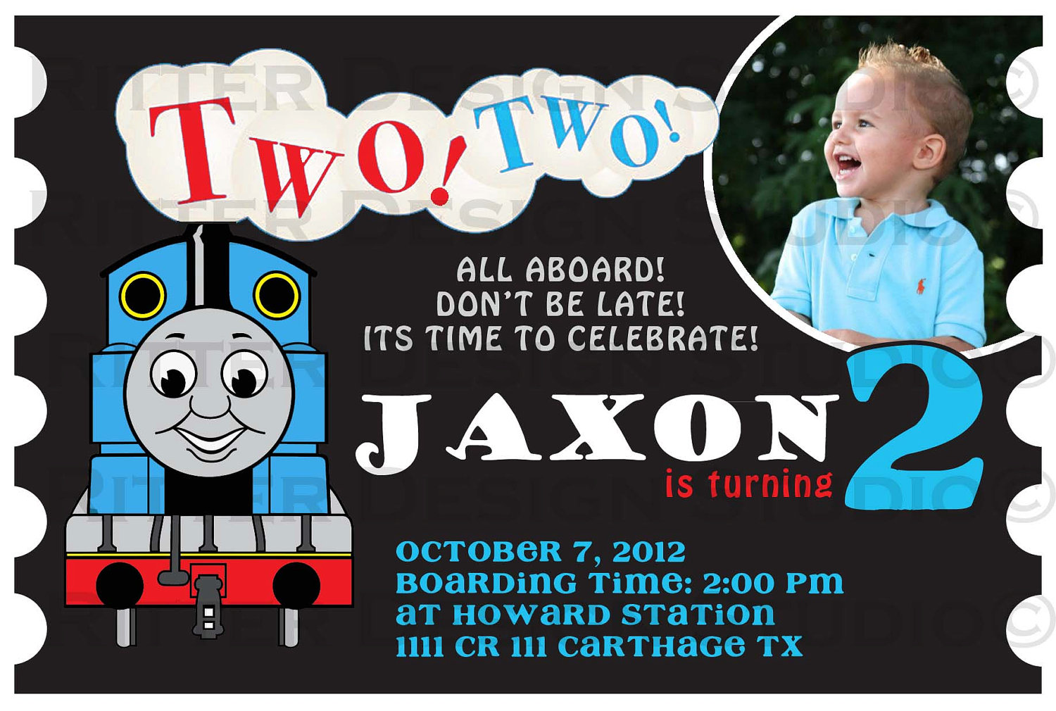 thomas the train birthday invitation printable on storenvy