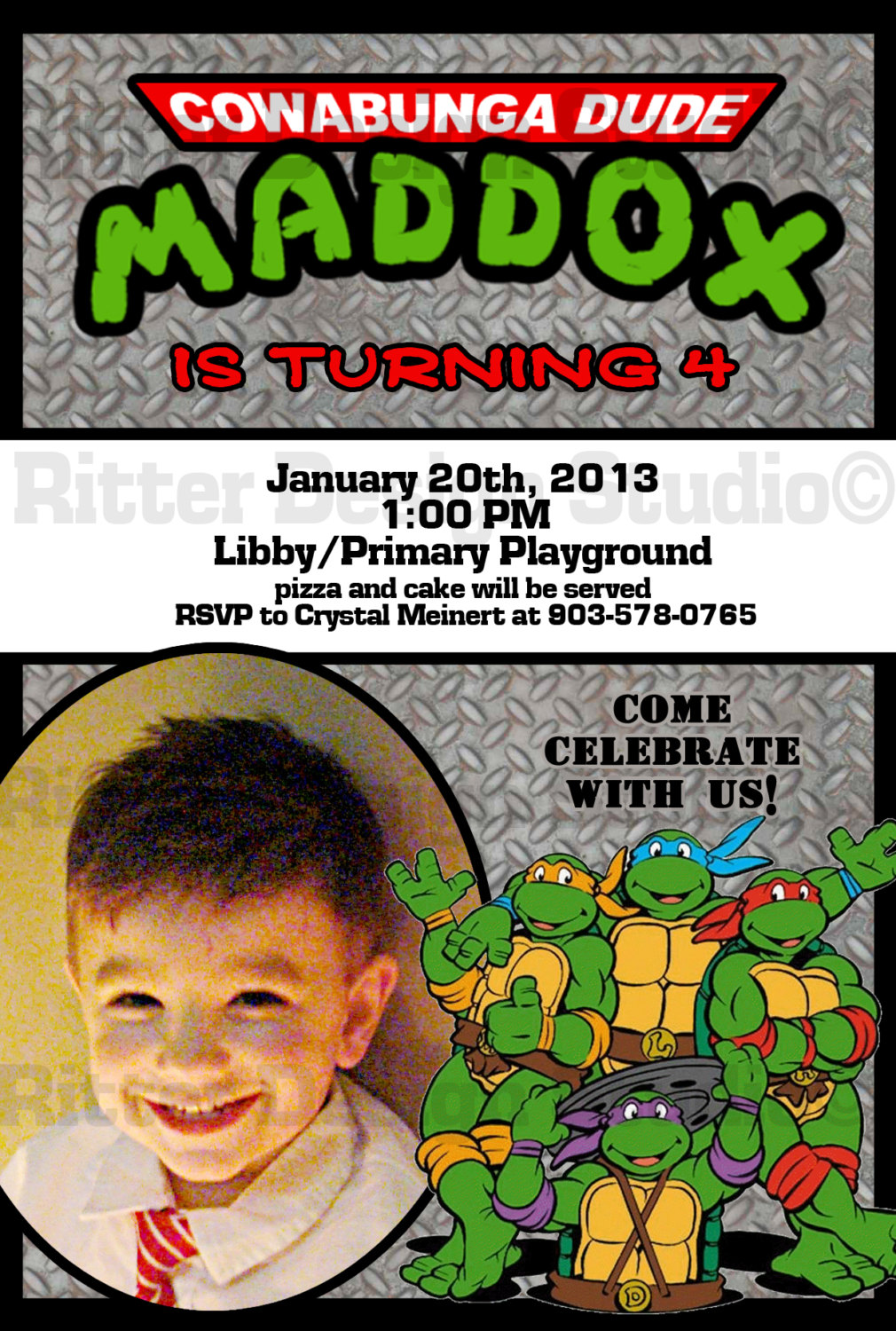 image regarding Ninja Turtles Birthday Invitations Printable identify Ninja Turtle Birthday Invitation - Printable