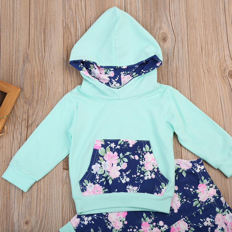885fae955bb46 Cute Baby Girls Outfit Winter Mint Navy Floral Hoodie With Pocket ...