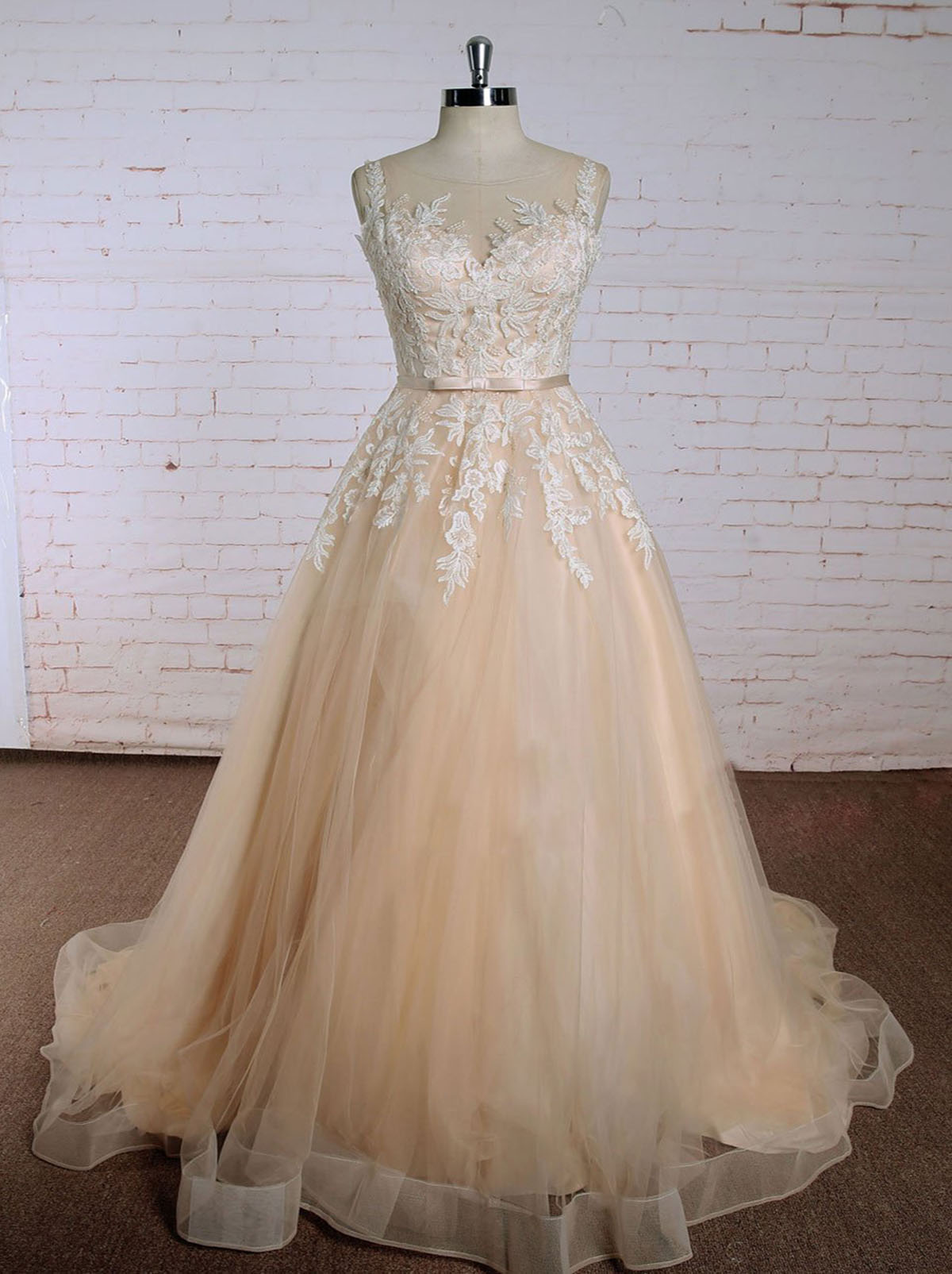 Champagne tulle long sweet 16 prom dress, long lace appliqués plus size  graduation dress from Sweetheart Dress