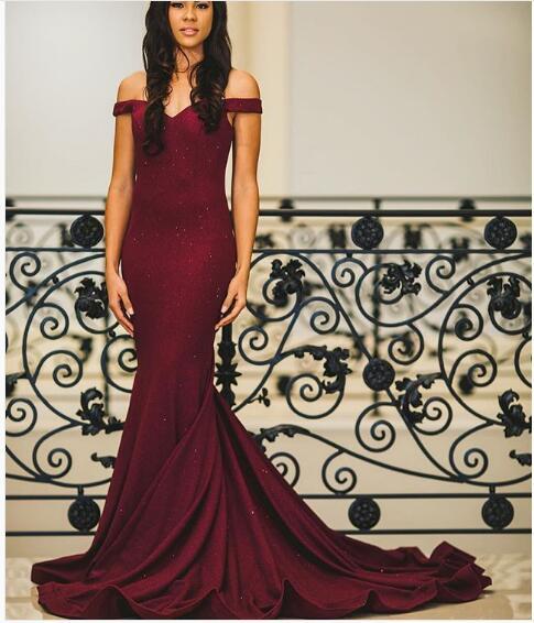 e9873b030f Sexy Mermaid Prom Dress Burgundy Off Shoulder Satin Long Prom Dresses  Evening Formal Dress