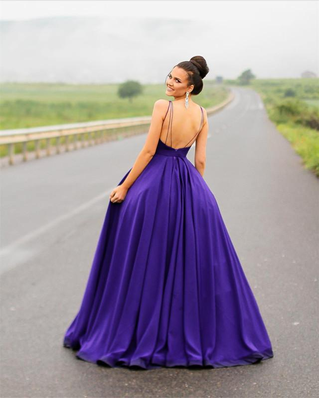 8b49f34bdcd6 Long Satin Open Back Ball Gowns Prom Dresses 2018 Formal Evening ...