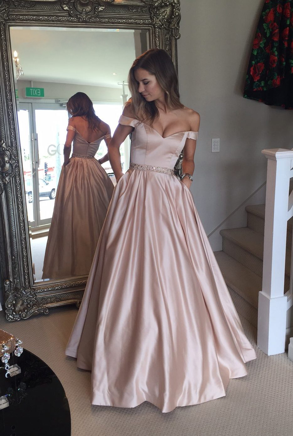 b9c8a8f8fa Elegant Prom Dress Pink Prom Dresses Off Shoulder Satin Long Prom Gown  Evening Dress on Storenvy