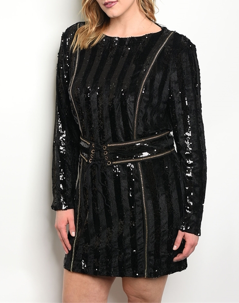 Plus Size Black & Gold Sequin Long Sleeve Dress from Melegance