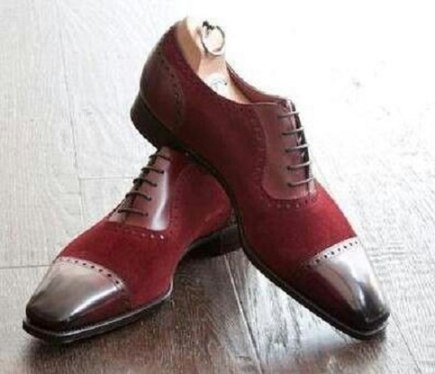 Men Two Toned Shoes Men Fashion Burgundy Dress Shoes Men