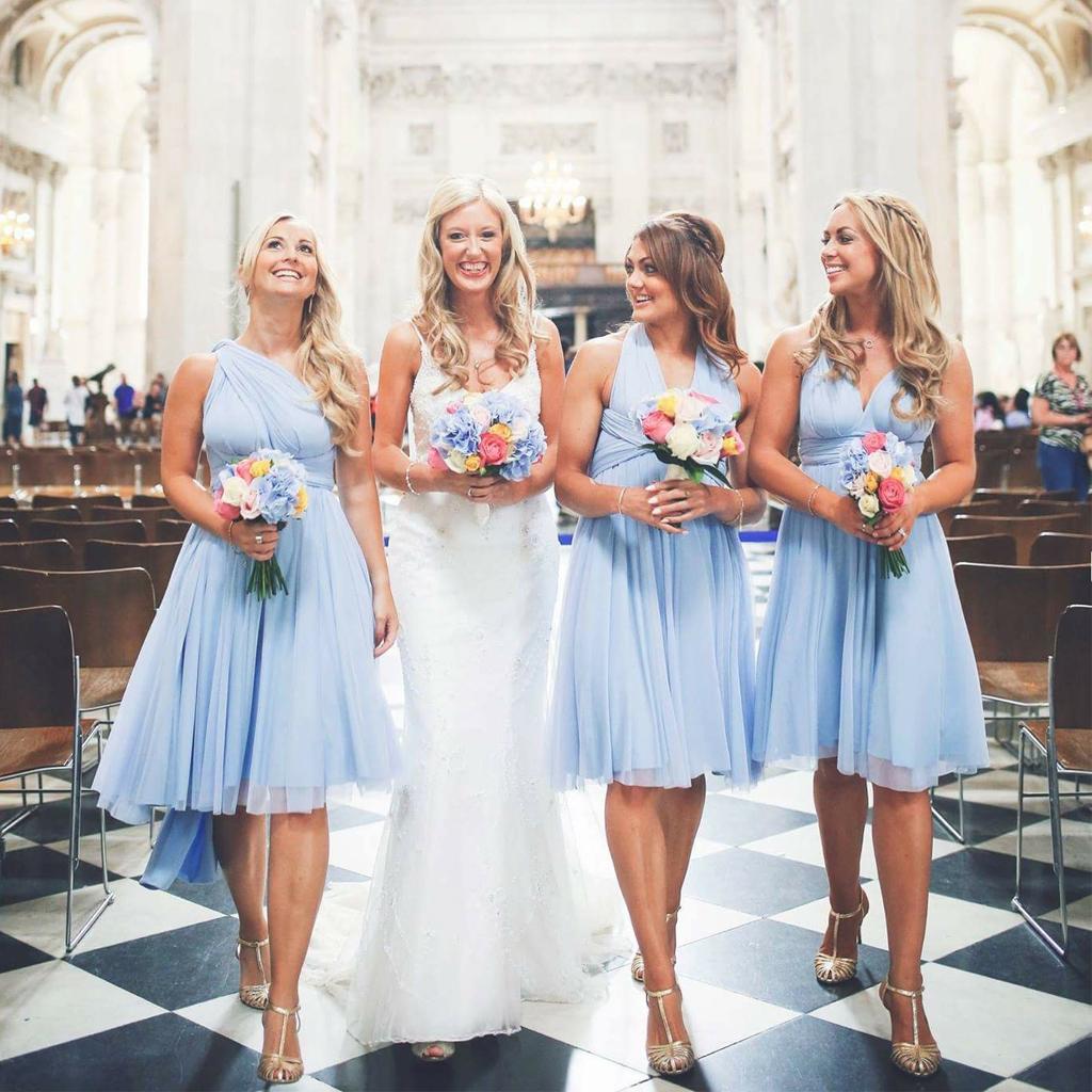 Short Convertible Backless Bridesmaid Dress Cheap Chiffon