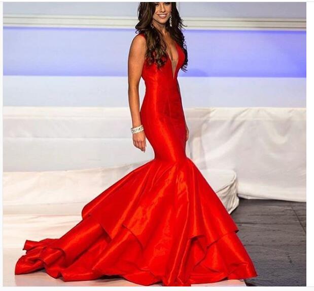 2e51d71fa016 Sexy Mermaid Prom Dress, Red Prom Dress, Deep V-neck Prom Dresses ...
