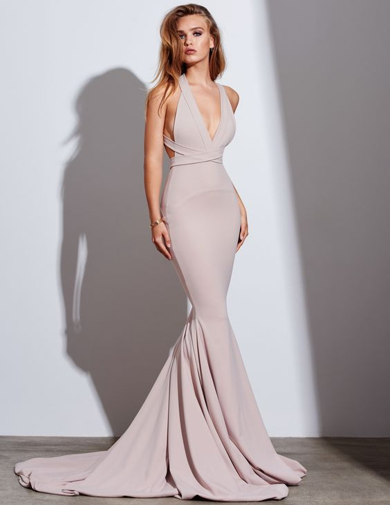 Dark Champagne Mermaid Prom Dress, V Neck Satin Formal Gown With ...