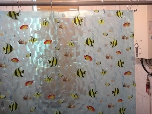 3D Lovely Little Fish PEVA 180 X Cm Plastic Shower Curtain Set