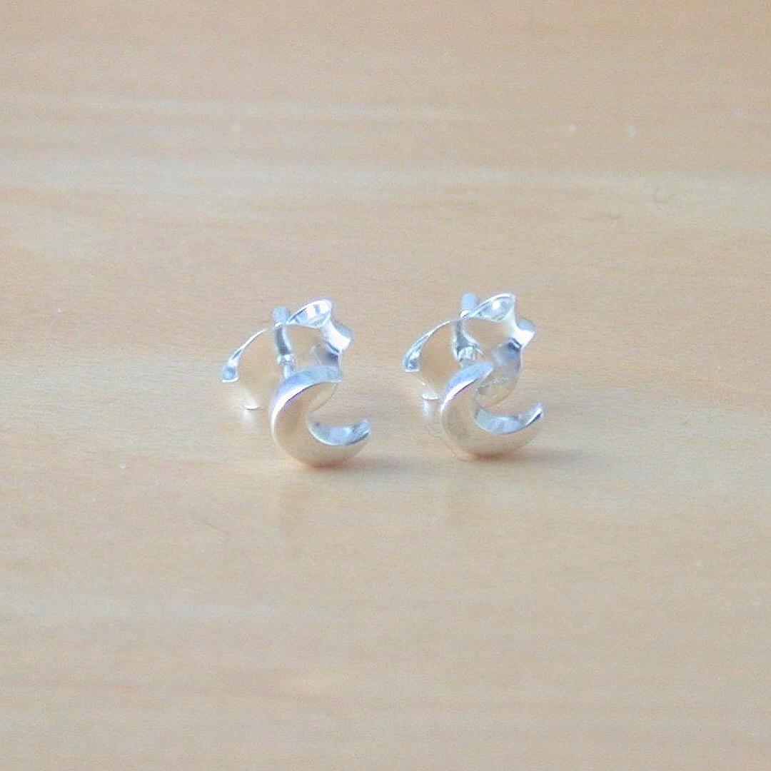 8f5887f73 ... 925 Silver Crescent Moon Stud Earrings/Half Moon Stud Earrings/Moon  Jewelry/Moon