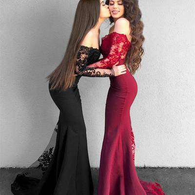 Elegant Strapless Long Mermaid Lace Evening Dress With Long Sleeves