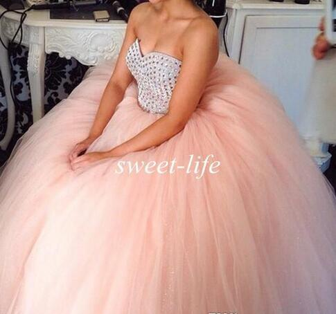 3af53603043 2018 Cheap Ball Gown Quinceanera Dresses Blush Pink Tulle Sweetheart Beads  Sweep Train Custom Made Sweet