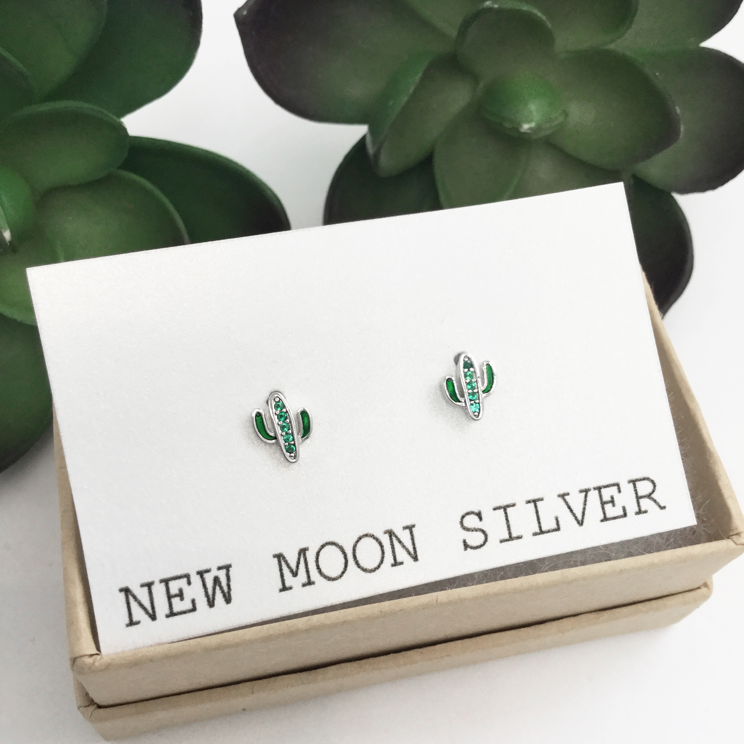 15122d649 925 Sterling Silver Cactus earring studs, Cactus studs, Cactus earrings on  Storenvy
