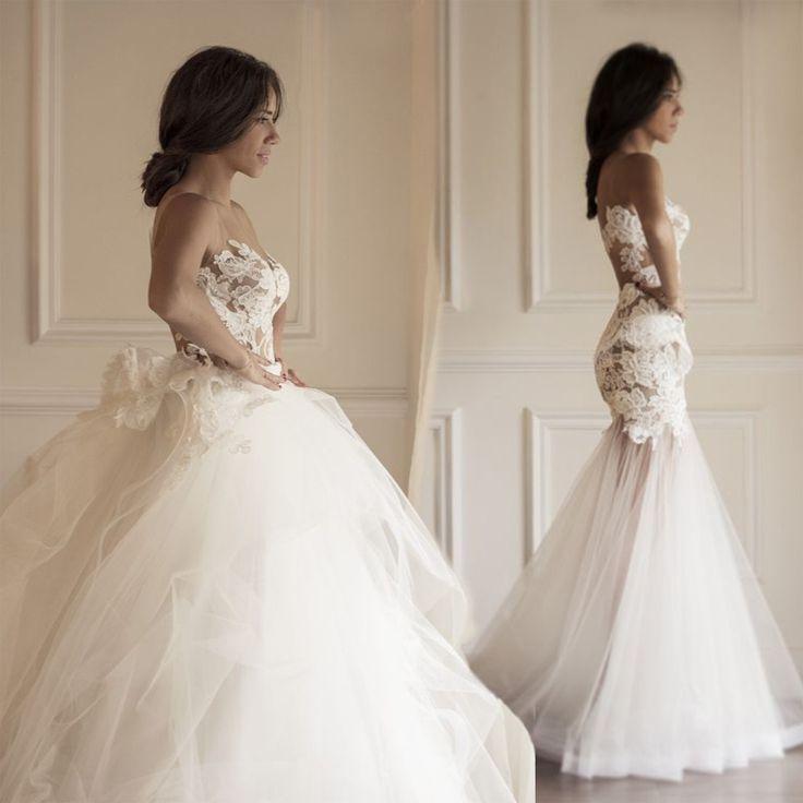 Detachable Wedding Dress.Sexy Sleeves Mermaid Long Lace Wedding Dress With Detachable Train From Halundress