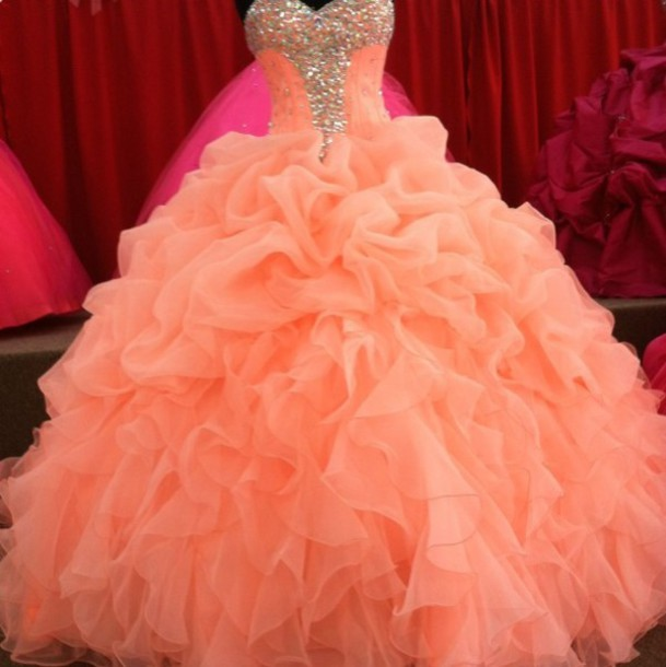 8f89e7c40e Luxury Plus Size Ball Gown Prom Dresses Sweetheart With Beads Crystal  Orange Quinceanera Dress