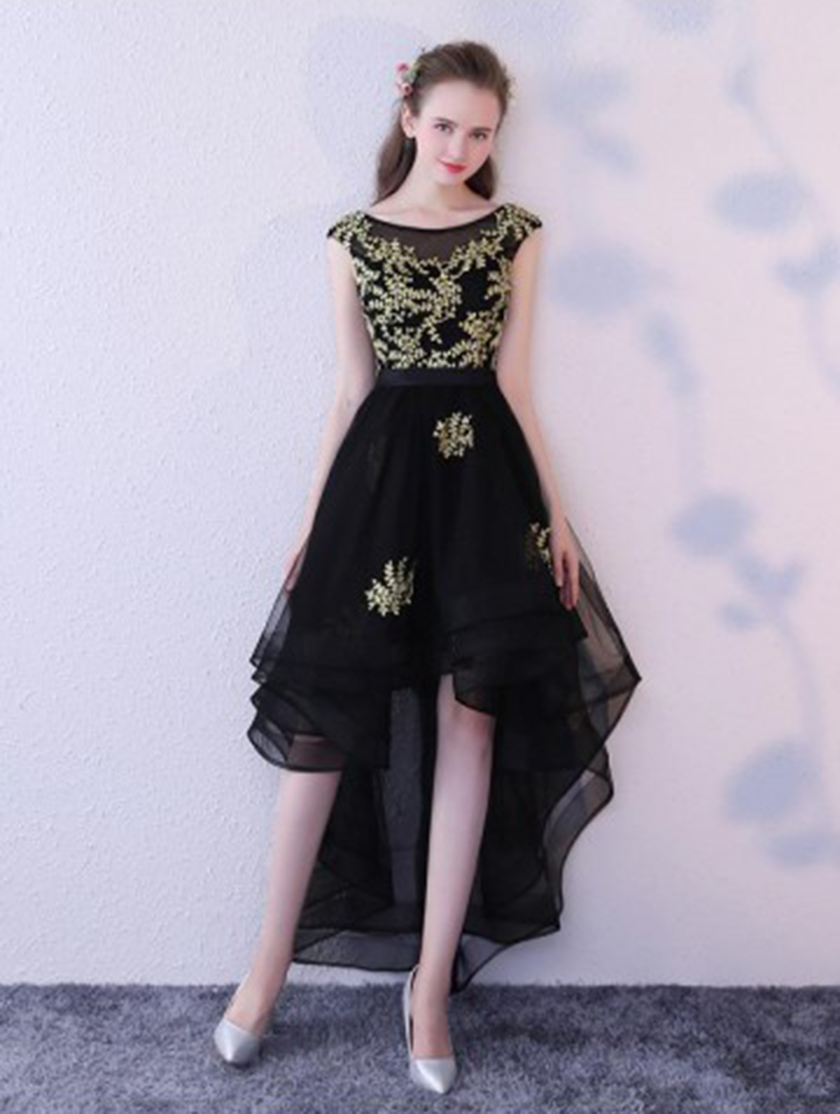 04656e028fd3 Black tulle high low long cap sleeve prom dress with gold appliqués ...