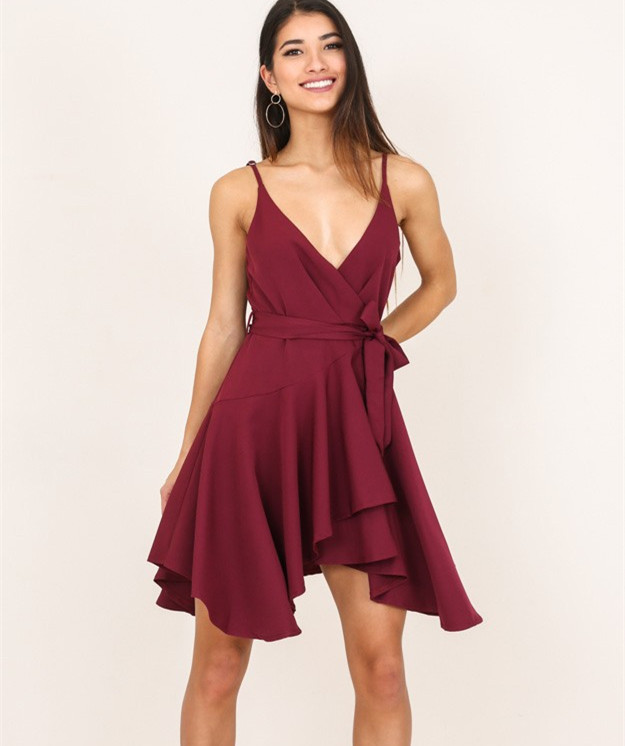 07217a7dced7 Flowy Short Burgundy Chiffon Homecoming Dress · miyasbridel