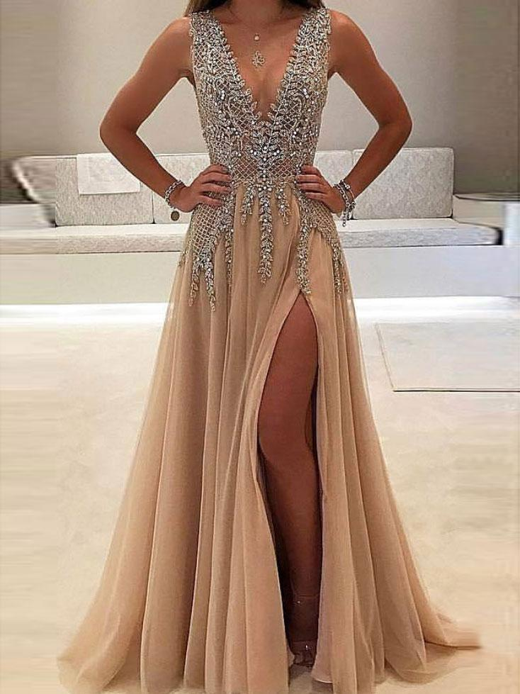c50abcd0 2018 Sexy See Through Delicate Beading Side Slit Tulle Long Evening Prom  Dresses, 172344