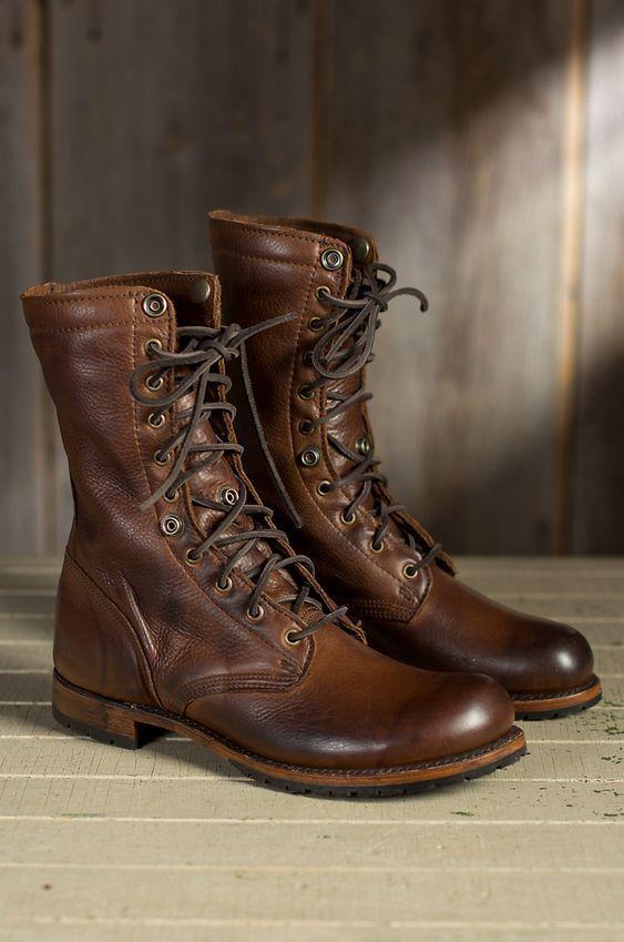 0f0de3f5fe Handmade Men brown Military boots, Men brown high ankle combat boots, Men  boots