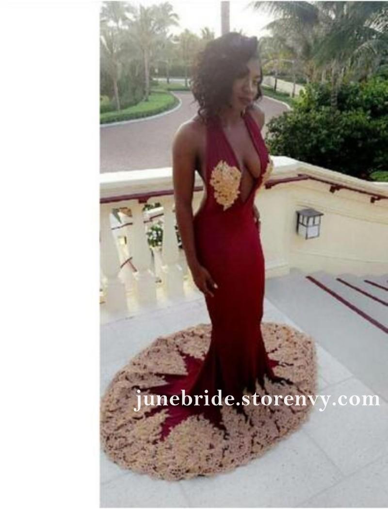 da8b6e11c20ff Burgundy Chiffon Mermaid Black Girl Prom Dresses With Gold Lace ...