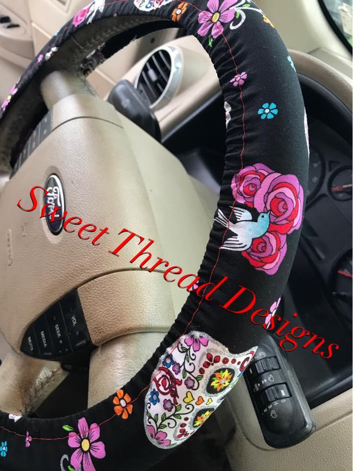 Swell Glitter Sugar Skull Steering Wheel Cover Evergreenethics Interior Chair Design Evergreenethicsorg