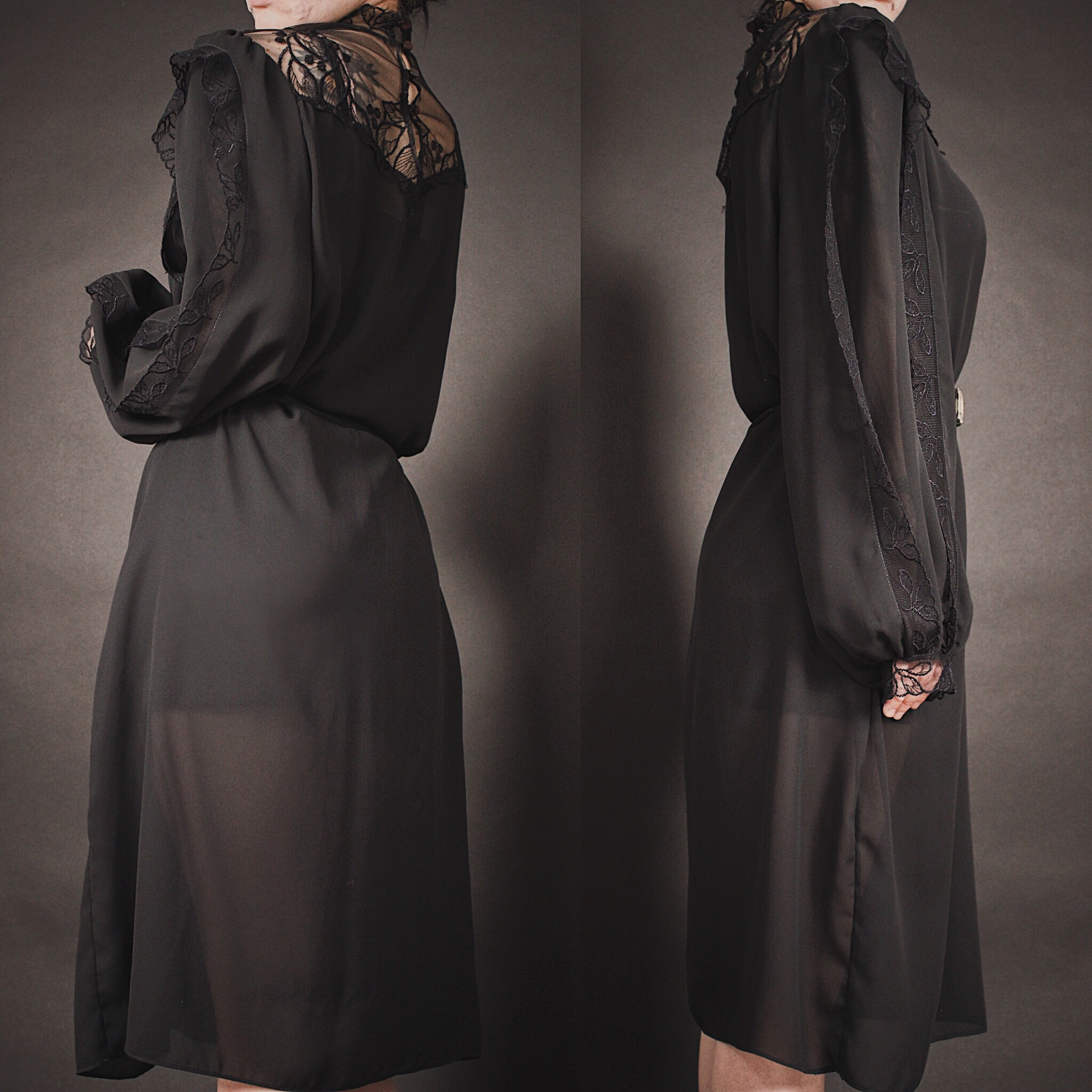a2487b2a2269 RESERVED FOR MAXX - Vintage 80s Black Lace Victorian Inspired Dress -  Thumbnail ...