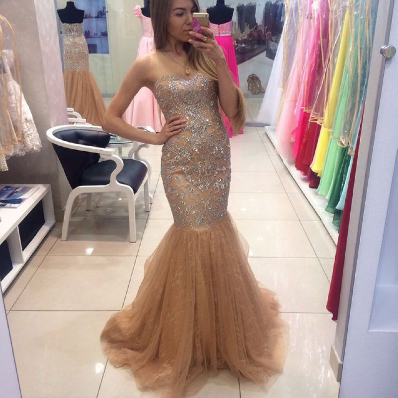 030ab80258f Amazing Champagne Elegant Prom Dresses
