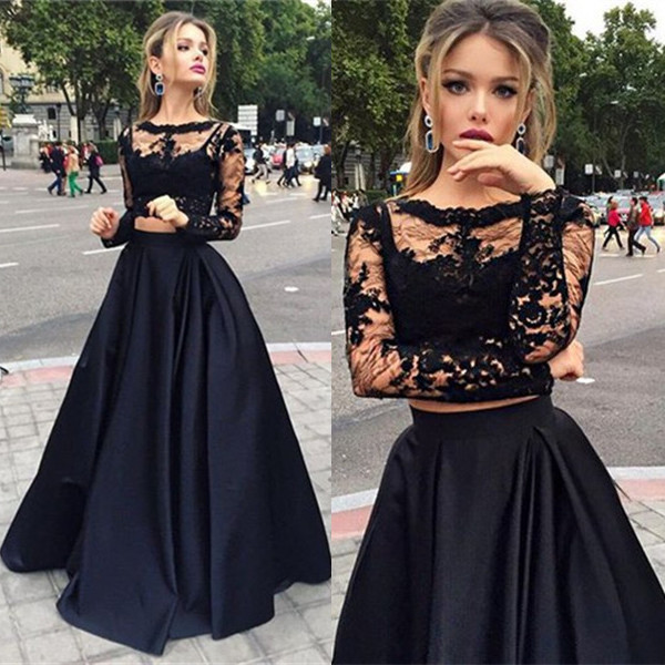 Lace Long Sleeve Prom Dresses 2018 Illusion Sheer Two Piece Prom