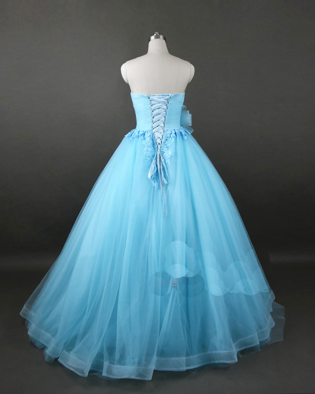 Sweetheart neck sky blue tulle long sweet 16 prom dress, long ...