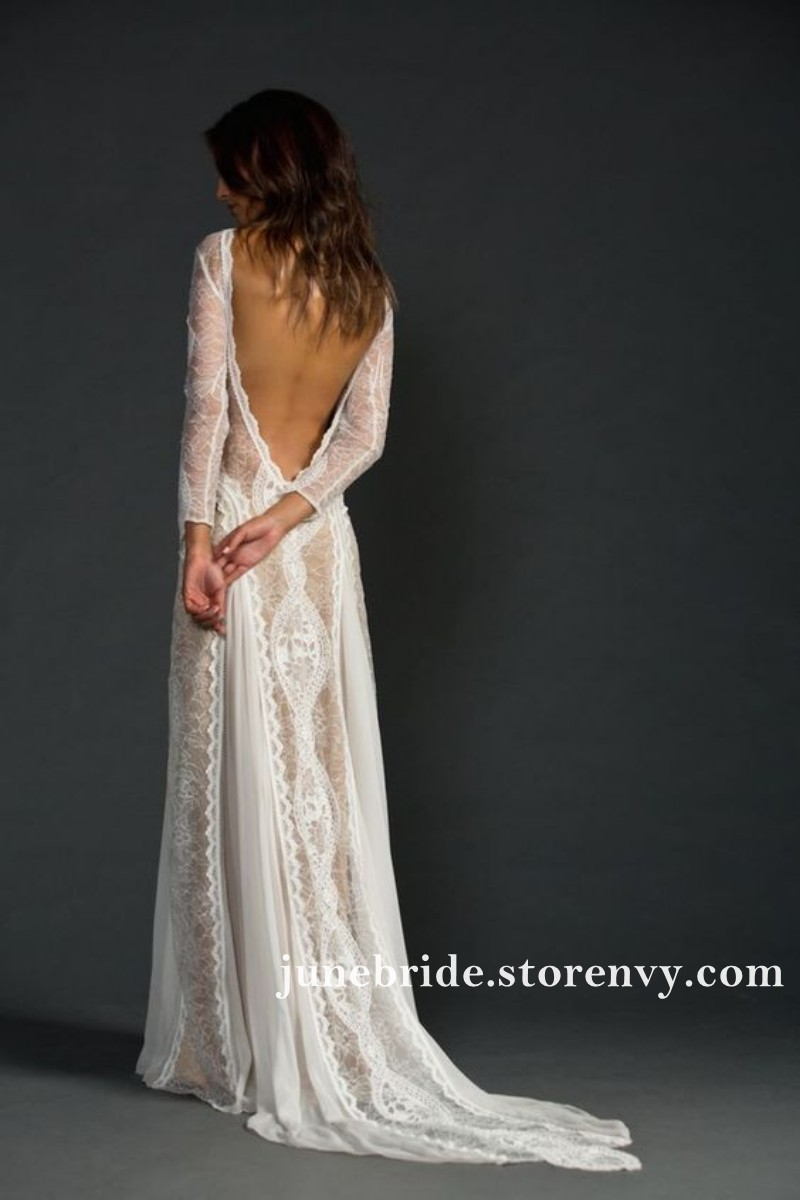Vintage Lace Boho Wedding Dresses Long Sleeve Backless Bridal Gowns Sexy Side Split Summer Beach Wedding Dress Sold By June Bride On Storenvy,Simple Long White Wedding Dress