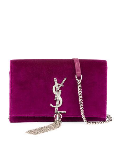 c41d69dd763 Saint Laurent Kate Velvet Crystal-Monogram Tassel Wallet on Chain ...
