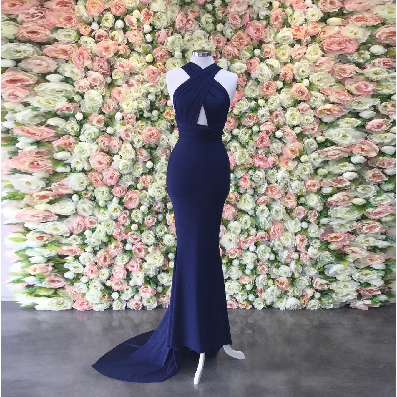 Halter Formal Evening Gown Navy Blue Backless Prom Dress With Cut ...