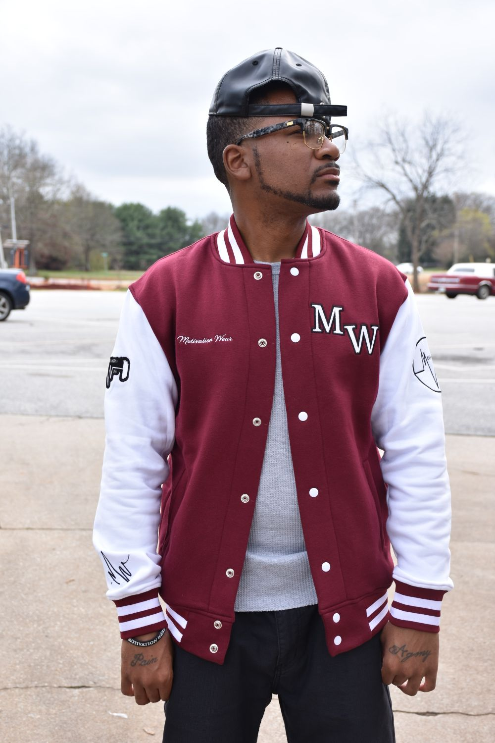 Letterman Varsity Jacket Wine From Motivation Wear