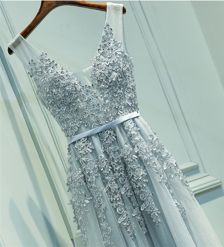 55735bf9052 A Line Floor Length Grey Lace Prom Dress, Grey Lace Bridesmaid Dress,  Formal Dress, Lace Evening Dress, Party Dress